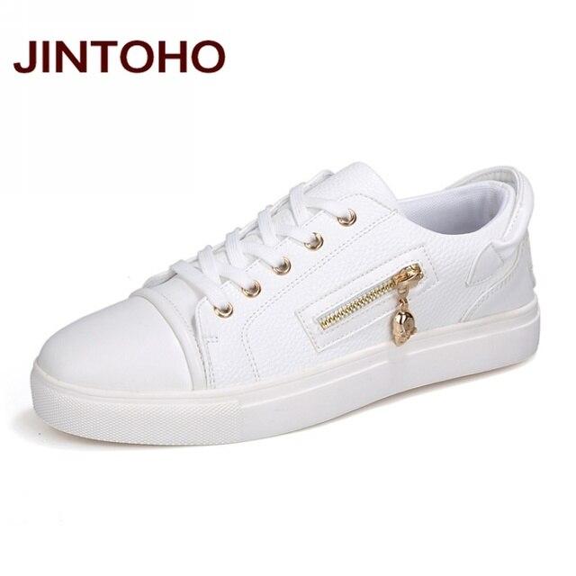 JINTOHO Spring Autumn Fashion Men Casual Shoes White Zip Mens Shose Luxury  Brand Designer Shoes Men Cheap Walking China Shoes 655469077