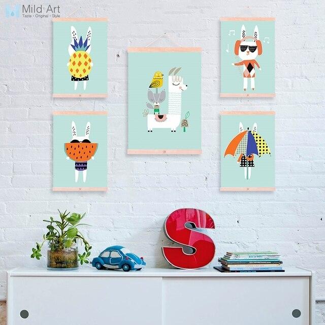 Kawaii Summer Rabbit Llama Pineapple Posters Hanger Nordic Kids Room Decor Cartoon Scroll Wall Art Wooden Framed Canvas Painting