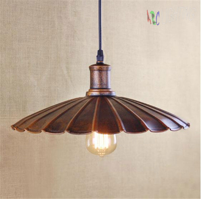 D34cm Rustic Retro pendant light Wrought Iron Vintage Industrial Lighting Lamp Bar American Country Style Design for Home wrought iron chandelier island country vintage style chandeliers flush mount painting lighting fixture lamp empress chandeliers