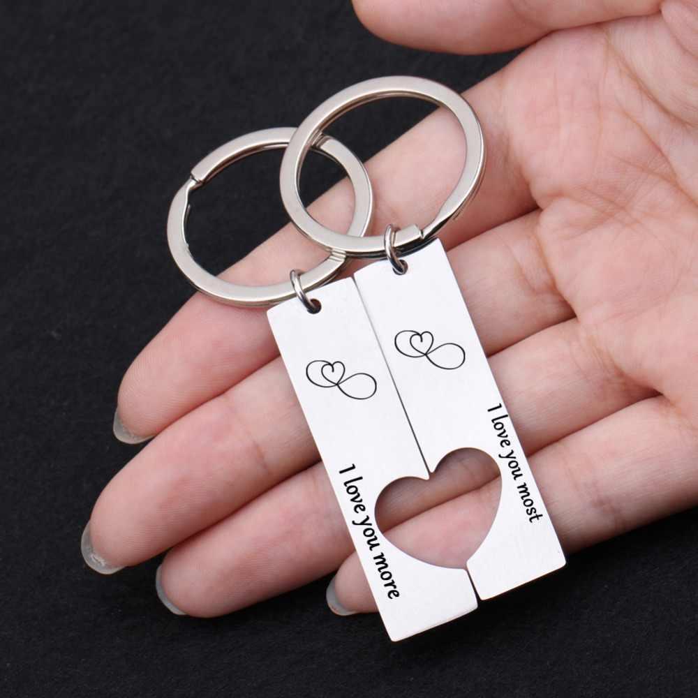Các cặp vợ chồng Keyring Rỗng ra một trái tim Keychain Thư TÔI yêu bạn nhất TÔI Yêu Bạn Nhiều Hơn Keychian Cậu Bé/cô gái người bạn Bagchain