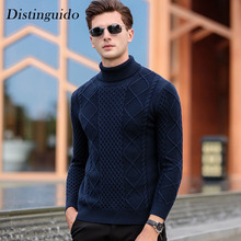 Men's Sweater Knitting Spring Winter Thick Smart Casual Turn-Down Collar Long Sleeves Pullovers Inner Clothing For Man MSW060