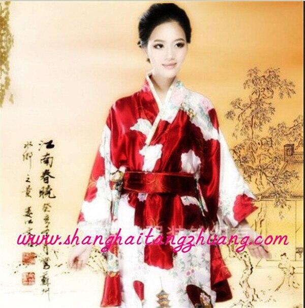 42d75a5e24b53 Plus Size Floral satin Bath Robe longue Long Janpanese Kimono ...