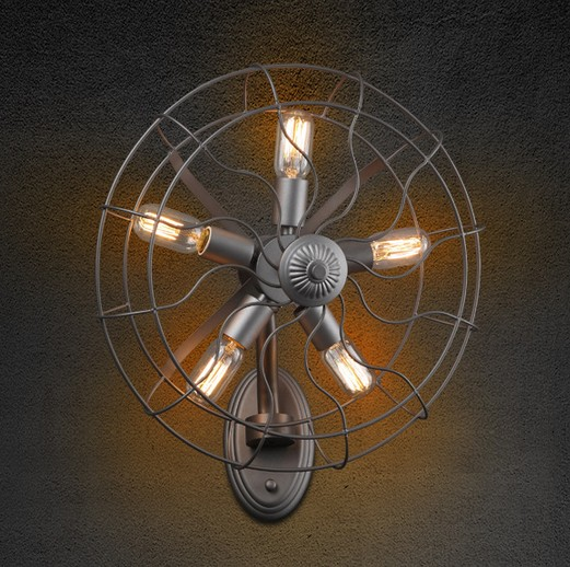 Creative industrial electric fan edison wall sconce loft style creative industrial electric fan edison wall sconce loft style vintage wall light for home antique wall mozeypictures Choice Image