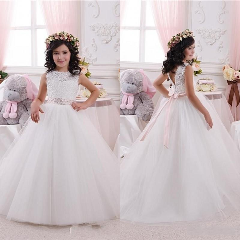 Ball Gown Flower Girls Dresses Lace Tulle Girl Pageant Gowns Birthday Dresses