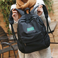 RU & BR Moda Nylon Mulheres Mochilas Universitários Meio High School Bolsas Para Adolescentes Menina Coreana Retro Macio saco de Viagem Ocasional mochila