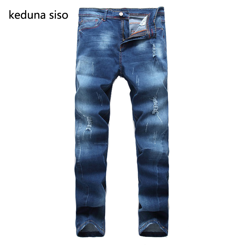 2016 Autumn Blue Denim Biker Jeans Men Distressed Masculina Straight Silm Ripped Jeans For Men Boy Motorcycle pants Wholesale фонари led lenser m17r