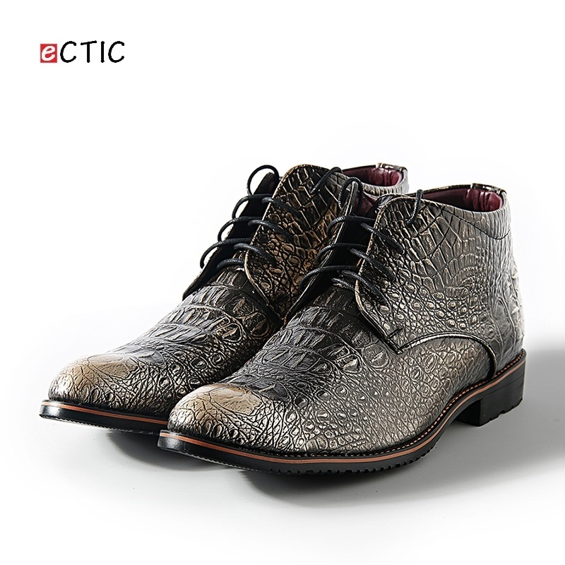 ECITC Classic Men Dress Shoes High Top Boots Motorcycle