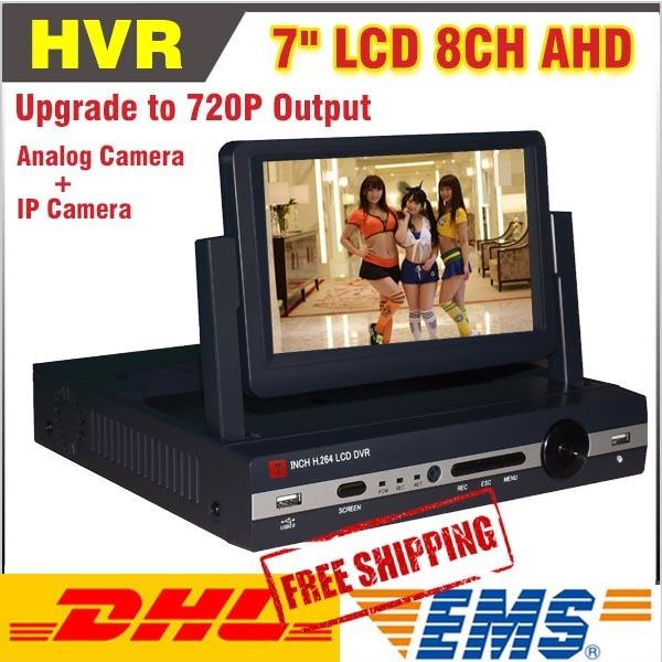 8 Channel AHD 7inch LCD 720P Hybrid HVR DVR NVR CCTV 8CH DVR Recorder Support AHD