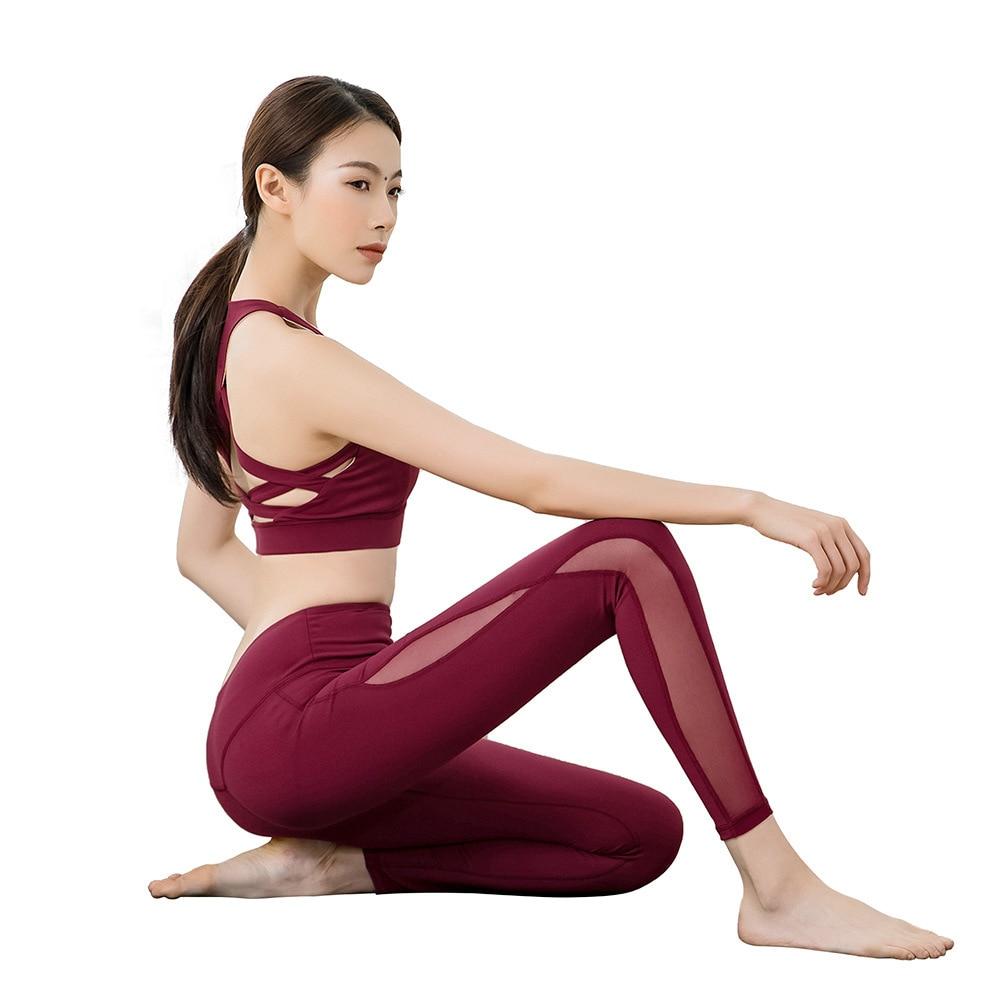 2019 pantalons de Yoga taille haute maille couture étanchéité séchage rapide pantalon respirant course Leggins Sport femmes Fitness Leggings