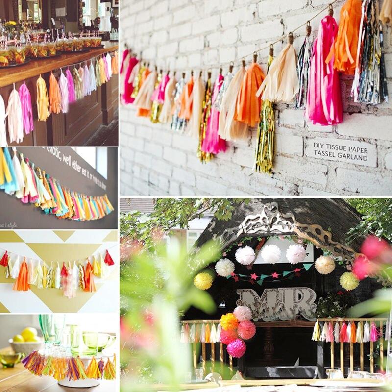 20 pcslot 14inch 35cm tissue paper tassel garland party decor wedding supplies diy baby shower halloween decoration
