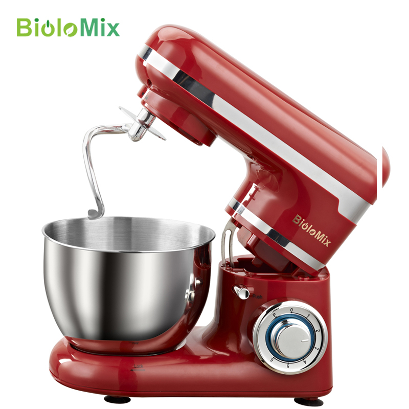 LED light 6-speed 4L Stainless Steel Bowl 1200W Powe Kitchen Food Stand Mixer Cream Egg Whisk Whip Dough Kneading Mixer