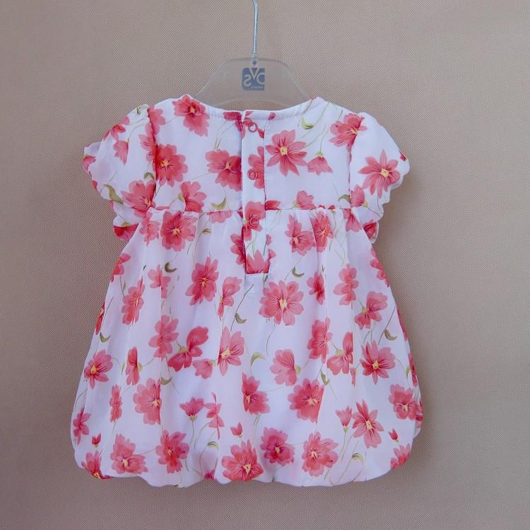 604c173c6f2b 2017 New Summer Baby Girl Floral Print Chiffon T shirt + Cotton ...