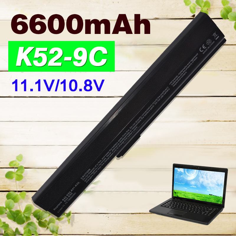 6600mAh 9 cells laptop battery for Asus A31-K52 A41-K52 A42-K52 A31-B53 A42J A52 A52J A52D K42 K42F K52F K52J