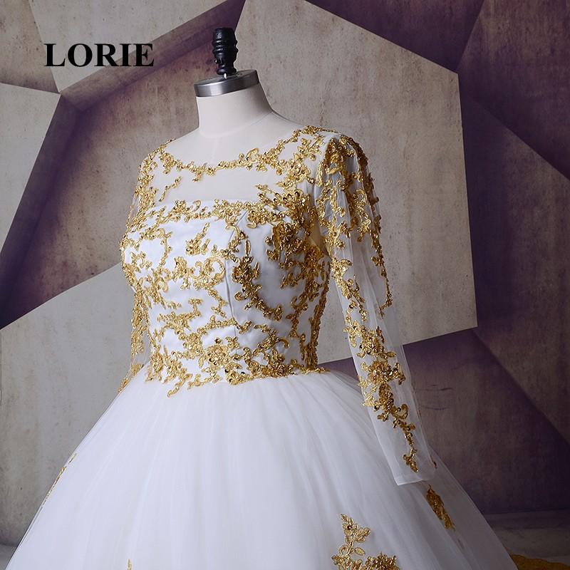 2b654a0514 HOT SALE] LORIE White Gold Wedding Dresses 2019 Long Sleeve Muslim ...