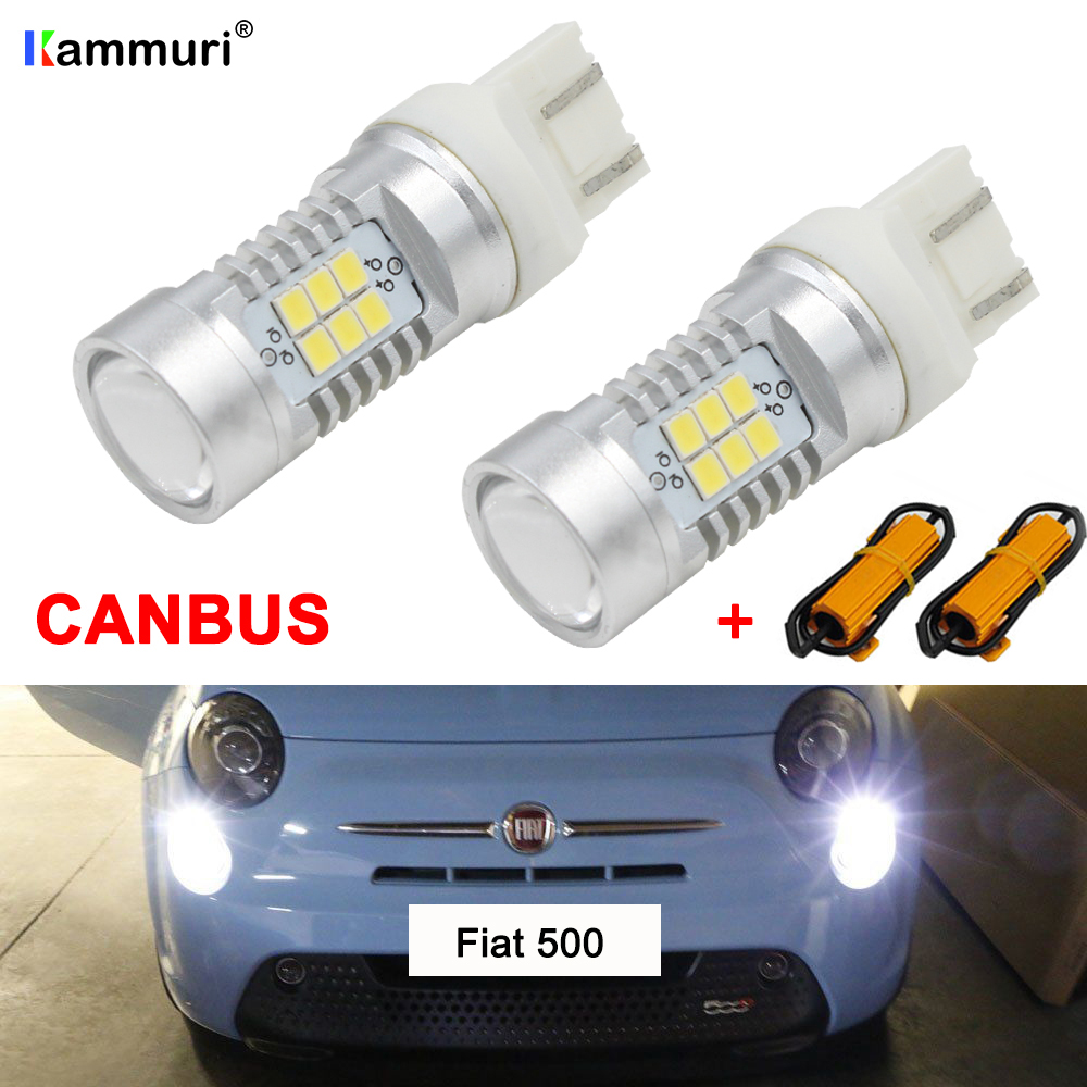 6000K White <font><b>W21</b></font>/<font><b>5W</b></font> LED CANBUS No Error 7443 T20 <font><b>W21</b></font> <font><b>5W</b></font> LED Bulb for 2009-2016 Fiat 500 led Day DRL Daytime Running Lights image