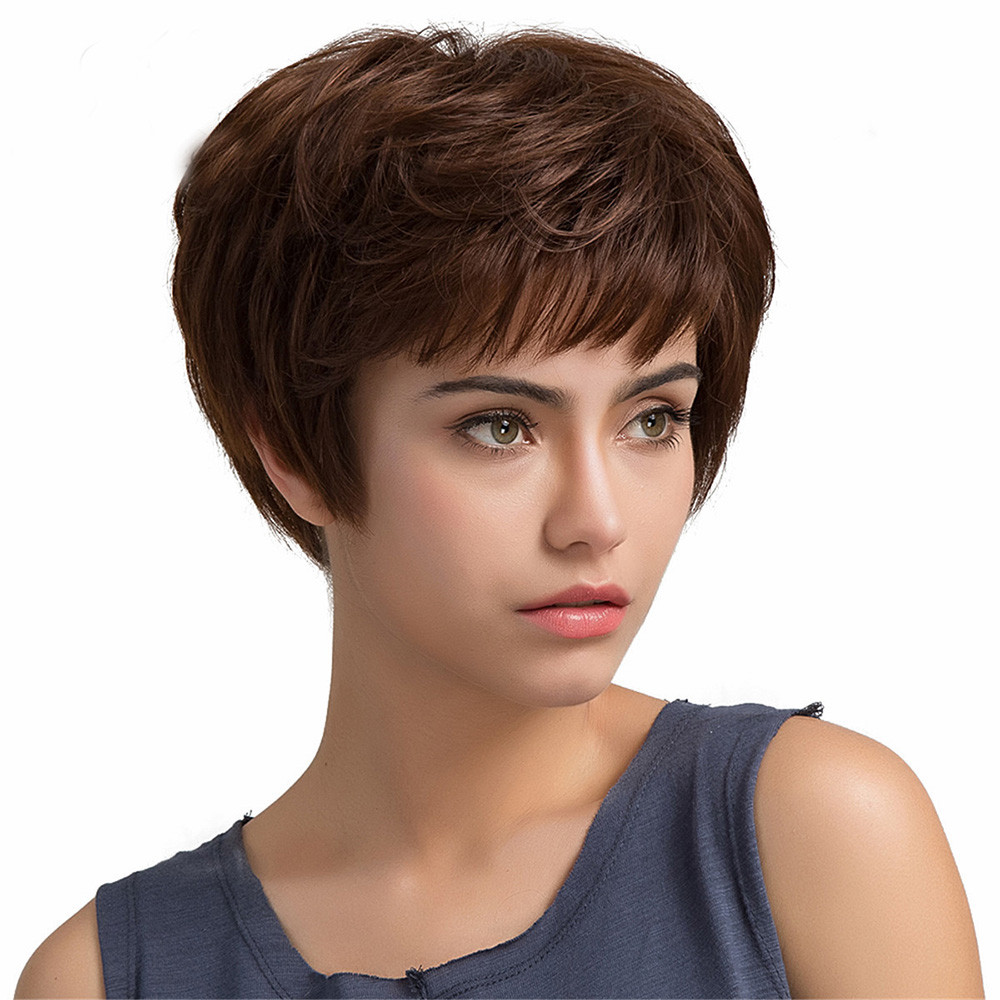 New women synthetic Short Wig 8 Inch Human hair Human Hair wig Wave Human Hair Female Wigs0928 fluffy inclined bang human hair short wig for women
