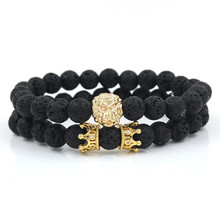 2pcs/set King Lion Charm Couple Braclet Sets Natural Tiger Eye Howlite Stone Bead CZ Crown For Men Jewelry Accessories