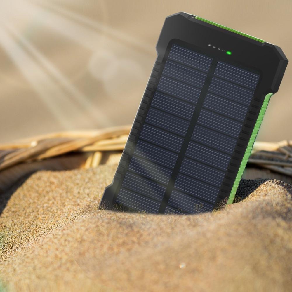 For XIAOMI Iphone 6 7 8 20000 mah Portable Solar Power Bank 20000mAh External Battery DUAL Ports powerbank Charger Phone Charger