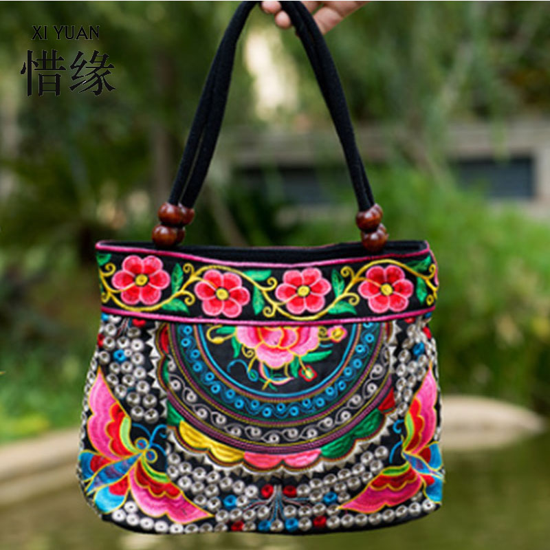 XIYUAN BRAND New National Ethnic Embroidery Bags Fashion Chinese Style Embroidered Shoulder Bag Ladies Women 's big Handbag ethnic embroidered black cami dress for women