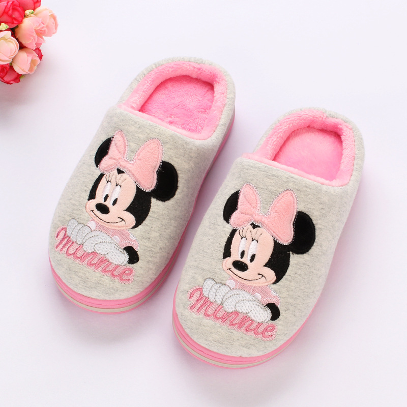 Disney 2018 winter new children's cotton slippers 5-12 years old girl princess non-slip warm home shoes