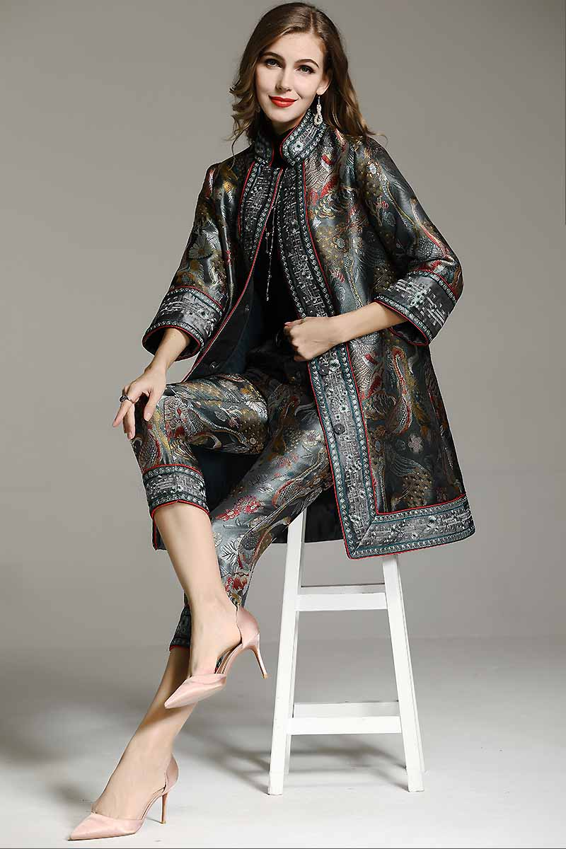 2aa416514ce High-end winter blue trench coats for women vintage Elegant Floral woolen embroidery  loose lady plus size Coat female M-4XLUSD 124.58 piece