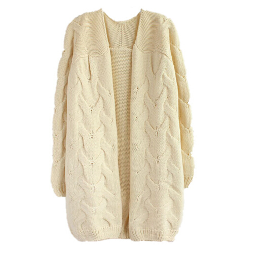 EAS Winter New Women Slim V-Neck Sweater Casual knit Cardigan Sweater Long Coat