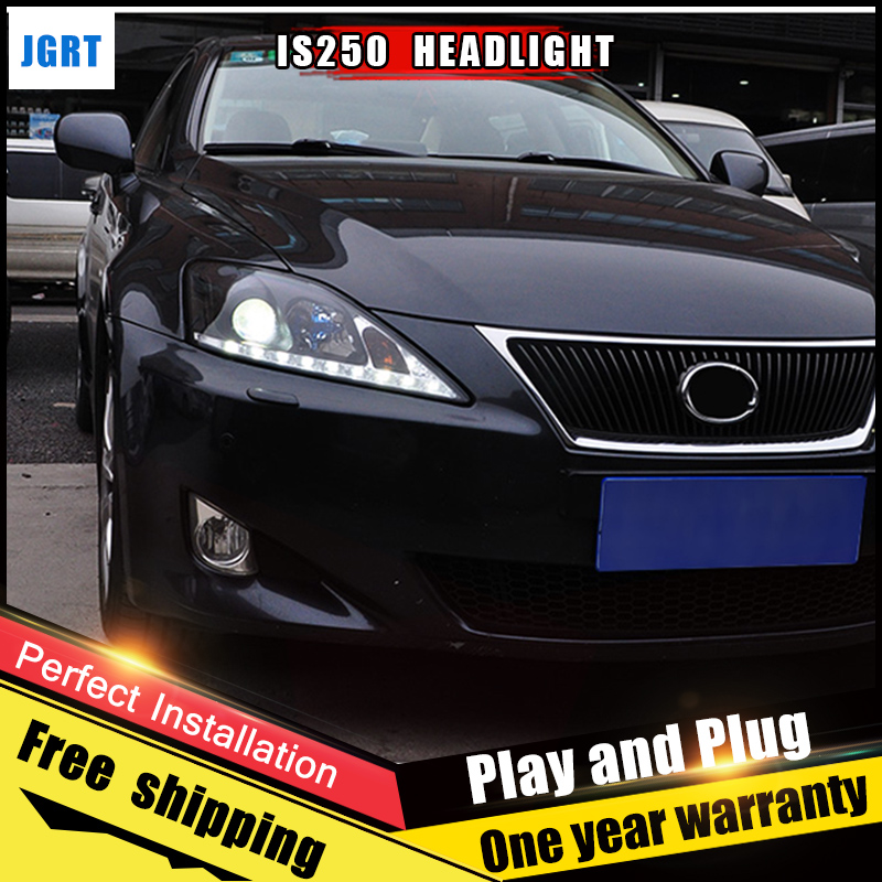 2PCS Car Style LED headlights for Lexus IS250 2006-2009 for IS250 head lamp LED DRL Lens Double Beam H7 HID Xenon bi xenon lens hireno headlamp for 2003 2009 toyota land cruiser prado headlight assembly led drl angel lens double beam hid xenon 2pcs