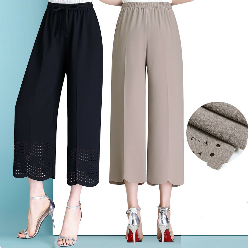 2019 Summer Capri   Pants   Plus Size Capris For Women Elastic Waist Chiffon Stretch   Wide     Leg     Pants   Capris Trousers Pantalon Femme