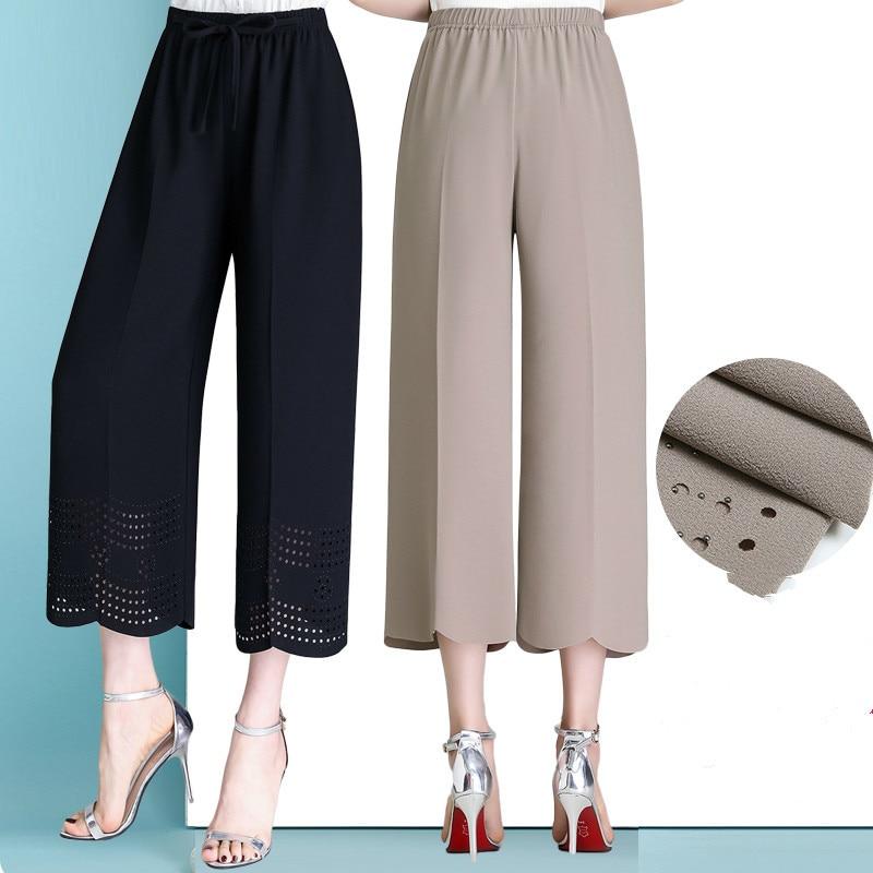 2019 Summer Capri   Pants   Plus Size   Capris   For Women Elastic Waist Chiffon Stretch Wide Leg   Pants     Capris   Trousers Pantalon Femme