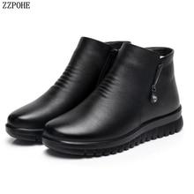 Zzpohe 2018 inverno outono mulher fashions botas de neve botas de couro genuíno botas de tornozelo plana mãe macio mais veludo sapatos de algodão