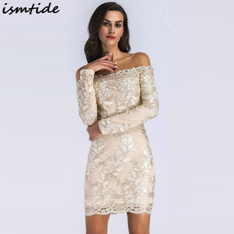 Bodycon Women Off Shoulder Lace Dresses 2018 New Autumn Golden Embroidery Dresses Backless Dress Long Sleeve Slim Club Dress