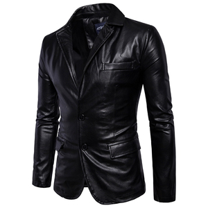 Image 3 - Size M 5XL men business casual leather pocket decoration new autumn and winter suits turn down coat collar Leather jacket cloth