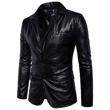 Size M-5XL men business casual leather pocket decoration new autumn and winter suits turn down coat collar Leather jacket cloth