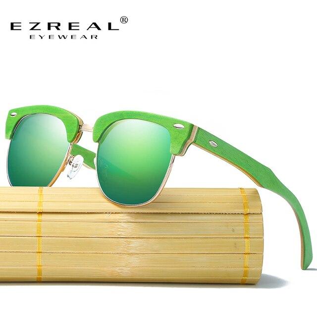 d7d38ea845228 EZREAL Novo Metade De Madeira Polarizados Óculos De Sol Dos Homens Das  Mulheres Designer De Marca
