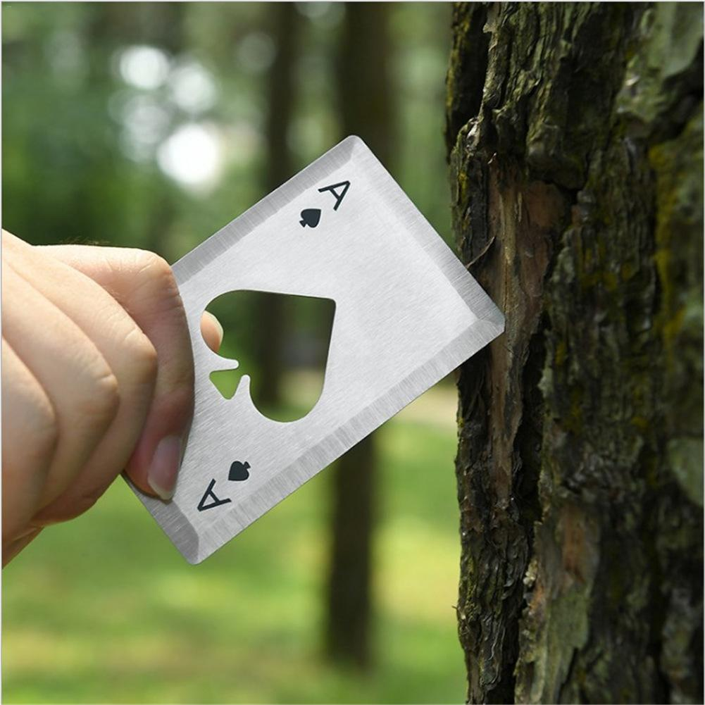 Black/Silver Poker Card Beer Bottle Opener Personalized Stainless Steel Credit Card Bottle Opener Card Of Spades Bar Tool 40P
