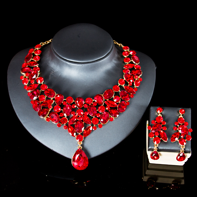 LAN PALACE african beads jewelry set nigerian glass set for women necklace and earrings for party free shipping chic rhinestone african plate shape pendant necklace and earrings for women