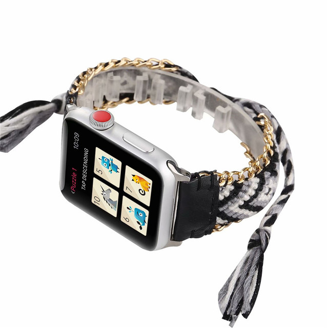 Vintage Bohemian Woven Bracelet Strap For Apple Watch Band 38mm 42mm 40mm 44mm