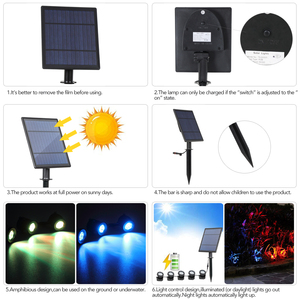 Image 4 - T SUNRISE LED Solar Powered Lamp Outdoor RGB Color Changing Solar Spotlight IP68 Waterproof Solar Light Landscaping for Garden