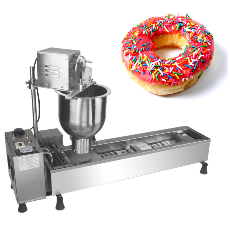 Mini doughnut machine automatic donut fryer stainless steel sweet donut shaping machine newest donut bakery maker fast food leisure fast food equipment stainless steel gas fryer 3l spanish churro maker machine
