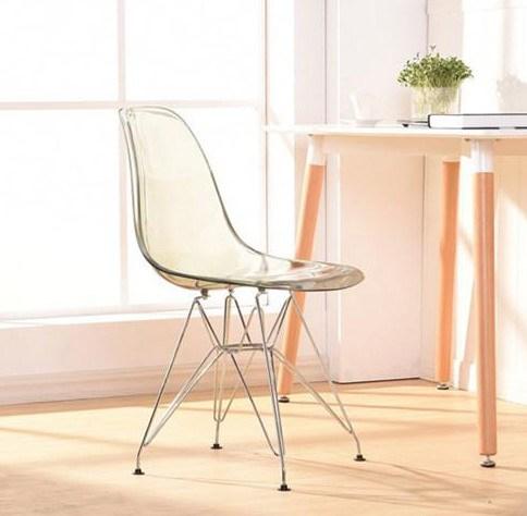 Transparente acrílico comedor silla lateral plástico y metal pierna ...