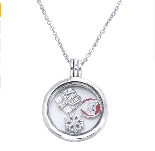 Original 2017 christmas necklace Compatible With silver Jewelry Anthentic 925 Sterling Silver snowflake Santa Claus pendant