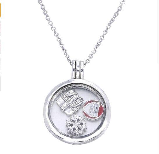 Original 2017 collier de noël Compatible avec les bijoux en argent anthentique 925 pendentif en argent Sterling flocon de neige père noël