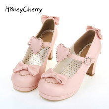 цена на The new high-heeled cute bow tie sweet lolita girls love solid round princess shoes more softer