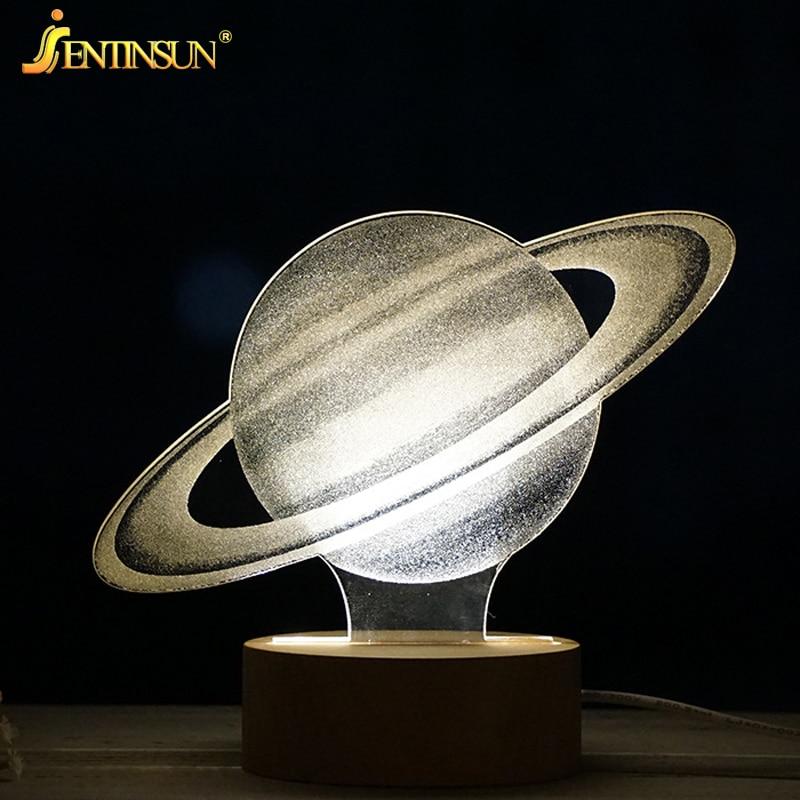 Creative 3D Cartoon Elsa Anna Night Light Christmas Deer Moonlight Galaxy Table Desk Lamp USB LED