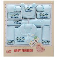 2017 Autumn Winter new newborn baby clothing set gift 100% cotton infant clothes suits 17 pieces baby full moon gift set HB1012