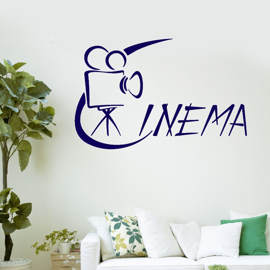 Cinema Films Wall Art Mural Movie Theatre Art Wall Stickers Removable Movie Design Wall  ...