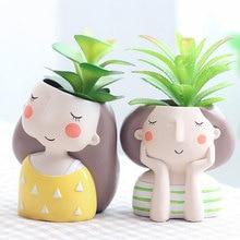Succulent wholesale Flowerpot Plant Pot Cute Girl Flower Planter Home Garden Mini Bonsai Cactus Wedding Birthday Gift