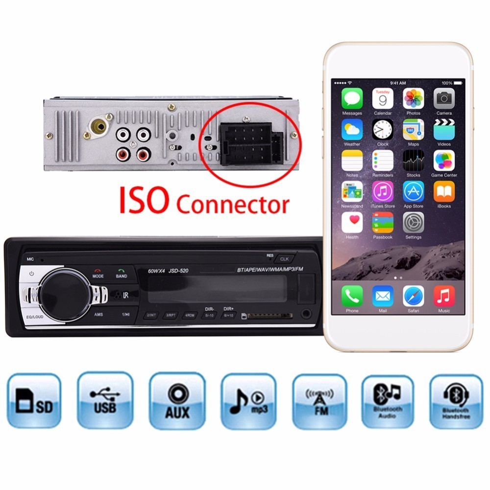 Autoradio ISO Bluetooth 1din Car Stereo In-dash 1 Din Radio auto JSD520 FM Aux Input Receiver SD USB MP3 MMC WMA 12V Audio image