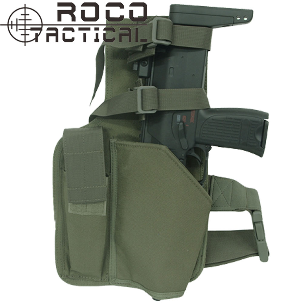 Цена за ROCOTACTICAL Воин MP9 Ног Кобура С Подсумок Военная Swat Молл Пистолет Кобуры Сделаны из Cordura 1000D Нейлон