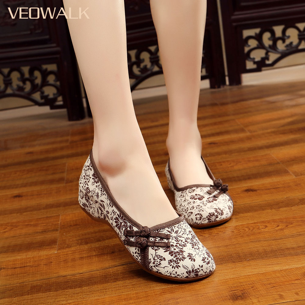 Veowalk Floral Fabric Women Slip On Ballet Flats Vintage Chinese Ladies Comfort Soft Canvas Shoes Cotton Buttons Sapato Feminino